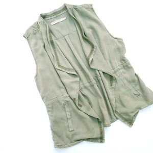 MAX Jean's Olive Green Chambray Slouchy Vest